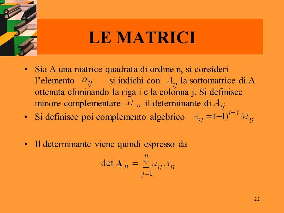 22 LE MATRICI Sia A una matrice quadrata di ordine n, si consideri lelemento si indichi con la sottomatrice di A ottenuta eliminando la riga i e la co