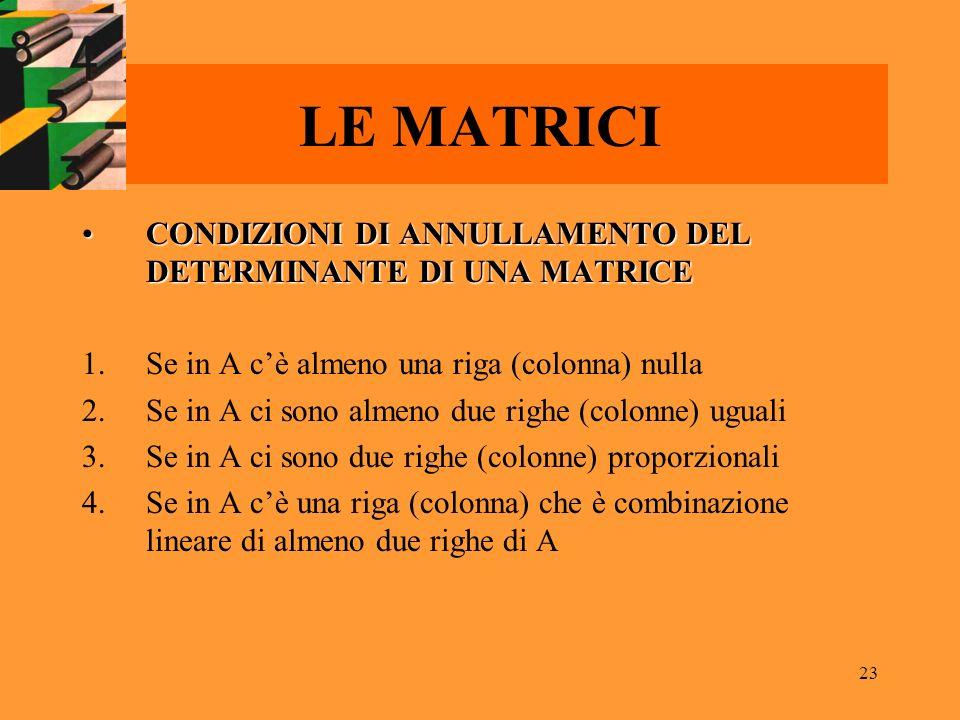 23 LE MATRICI CONDIZIONI DI ANNULLAMENTO DEL DETERMINANTE DI UNA MATRICECONDIZIONI DI ANNULLAMENTO DEL DETERMINANTE DI UNA MATRICE 1.Se in A cè almeno