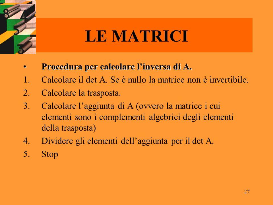 27 LE MATRICI Procedura per calcolare linversa di A.Procedura per calcolare linversa di A. 1.Calcolare il det A. Se è nullo la matrice non è invertibi