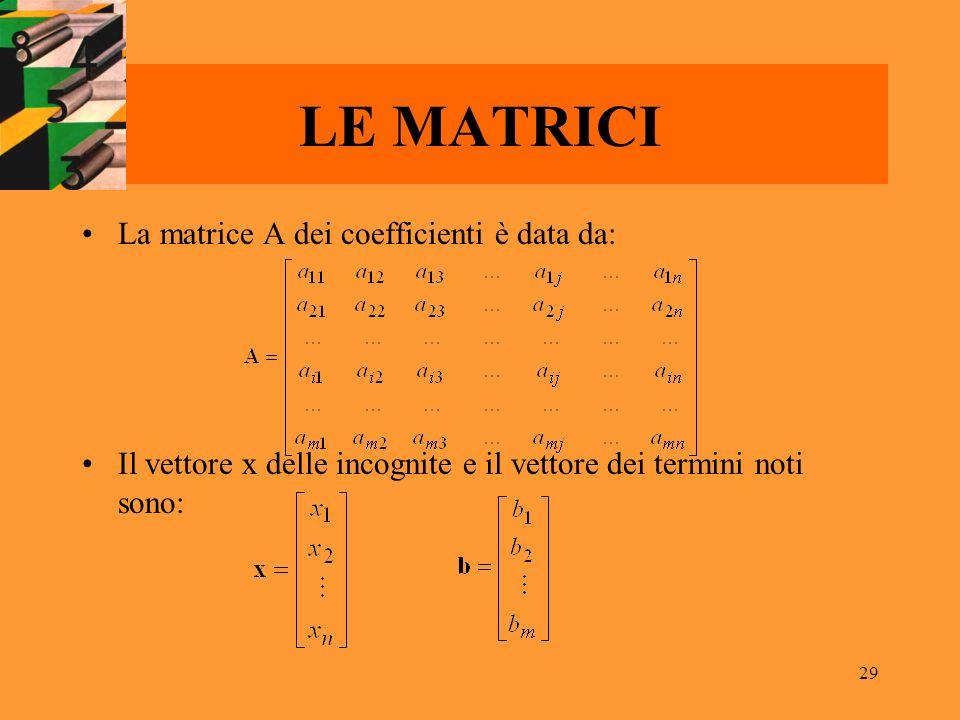 29 LE MATRICI La matrice A dei coefficienti è data da: Il vettore x delle incognite e il vettore dei termini noti sono: