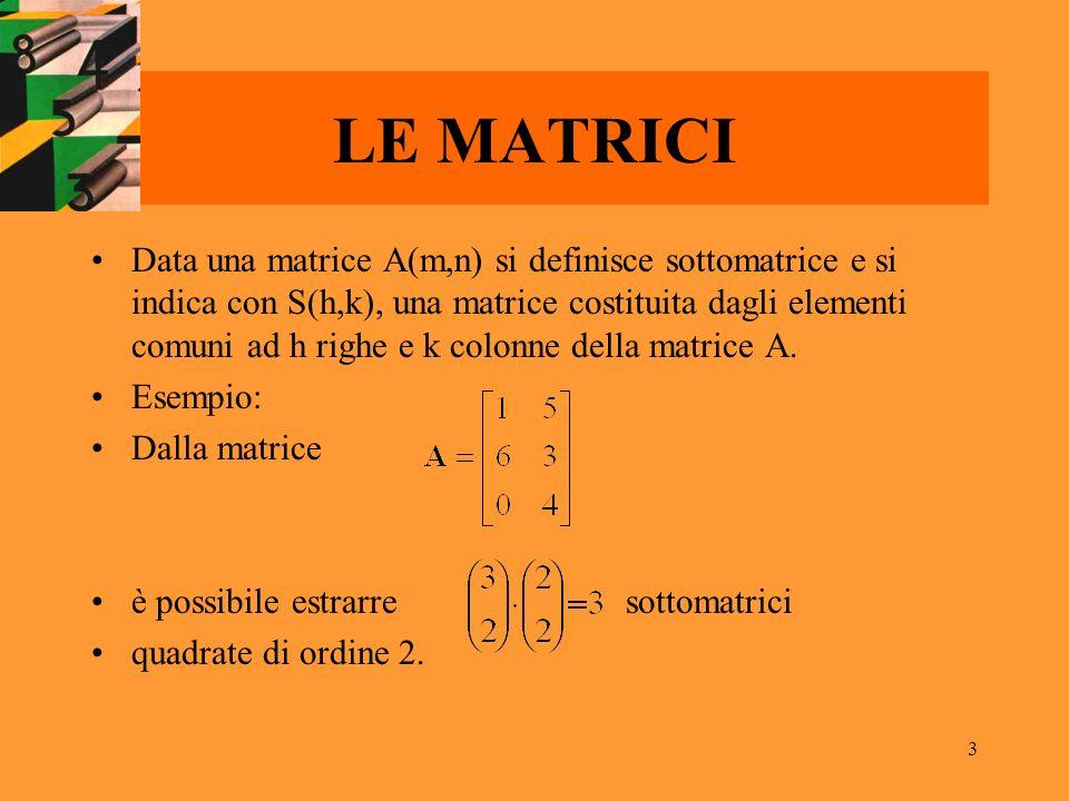 3 LE MATRICI Data una matrice A(m,n) si definisce sottomatrice e si indica con S(h,k), una matrice costituita dagli elementi comuni ad h righe e k col