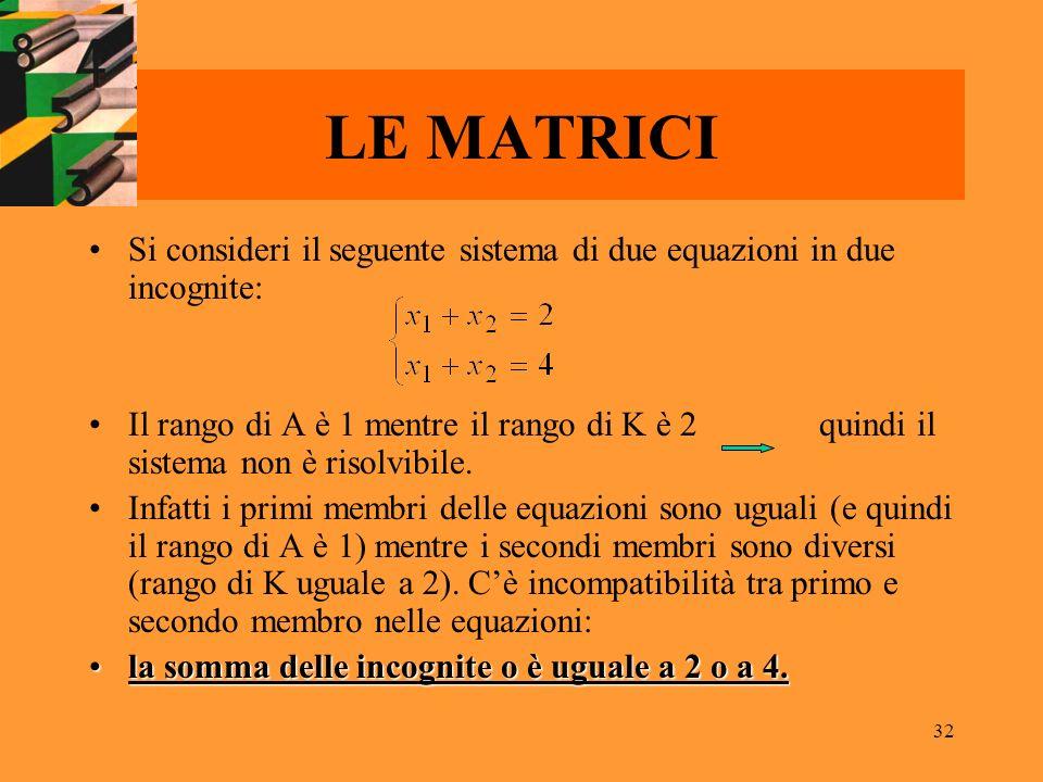 32 LE MATRICI Si consideri il seguente sistema di due equazioni in due incognite: Il rango di A è 1 mentre il rango di K è 2 quindi il sistema non è r