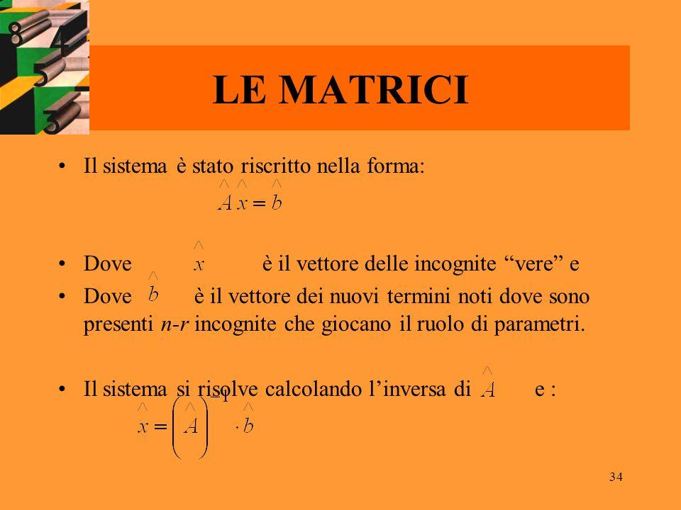 34 LE MATRICI Il sistema è stato riscritto nella forma: Doveè il vettore delle incognite vere e Doveè il vettore dei nuovi termini noti dove sono pres