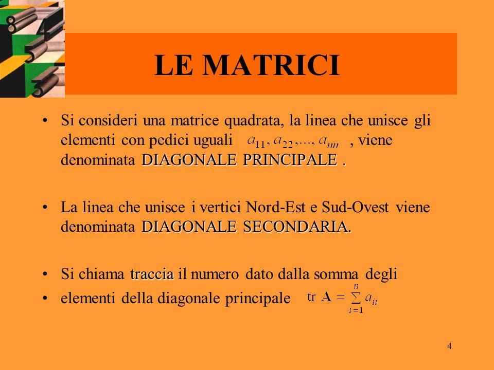 4 LE MATRICI DIAGONALE PRINCIPALE.Si consideri una matrice quadrata, la linea che unisce gli elementi con pedici uguali, viene denominata DIAGONALE PR