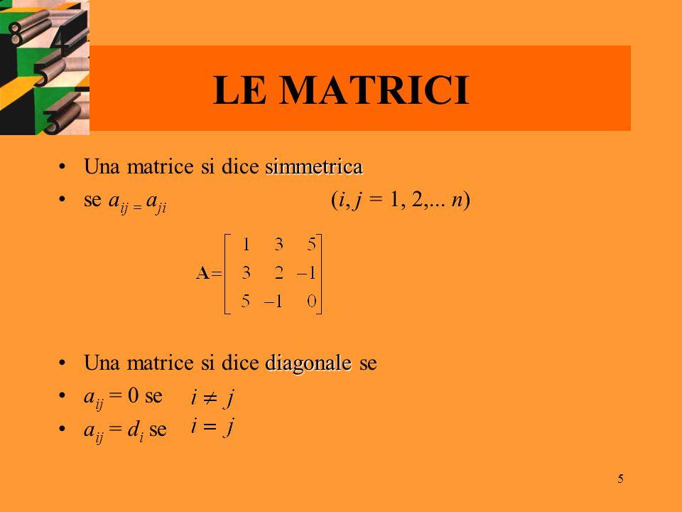 5 LE MATRICI simmetricaUna matrice si dice simmetrica se a ij = a ji (i, j = 1, 2,... n) diagonaleUna matrice si dice diagonale se a ij = 0 se a ij =
