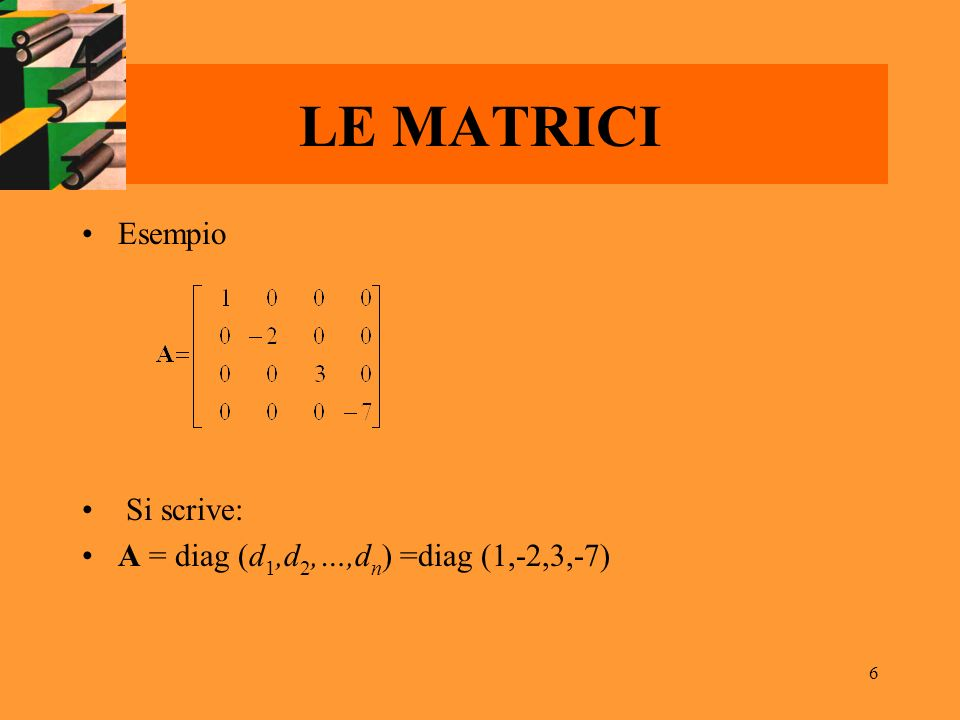 6 LE MATRICI Esempio Si scrive: A = diag (d 1,d 2,…,d n ) =diag (1,-2,3,-7)