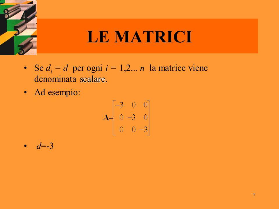 7 LE MATRICI scalare.Se d i = d per ogni i = 1,2... n la matrice viene denominata scalare. Ad esempio: d=-3