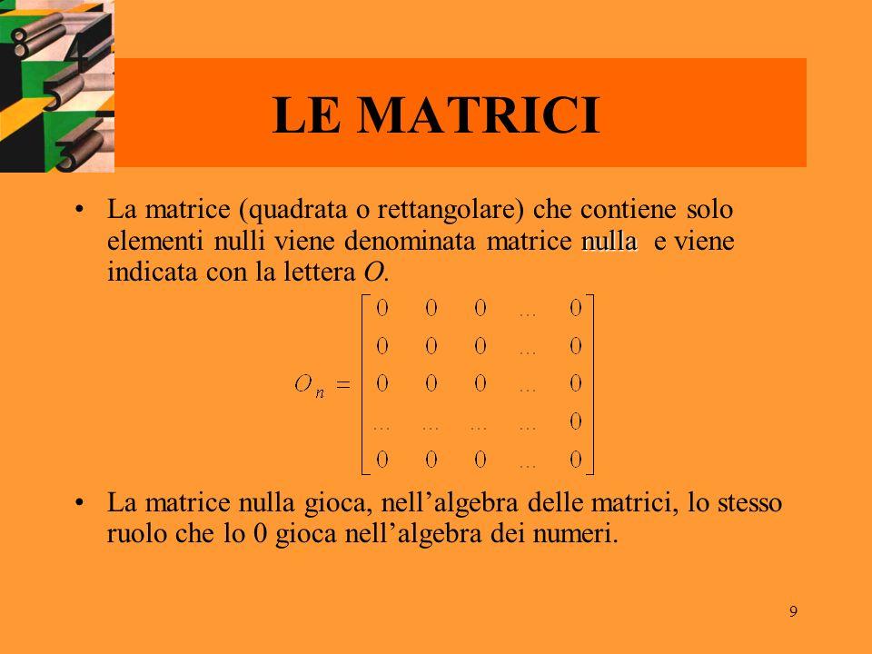 9 LE MATRICI nullaLa matrice (quadrata o rettangolare) che contiene solo elementi nulli viene denominata matrice nulla e viene indicata con la lettera