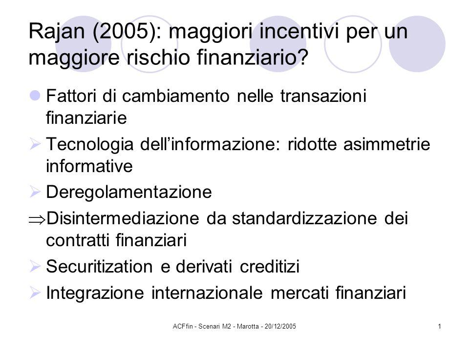 ACFfin - Scenari M2 - Marotta - 20/12/20051 Rajan (2005): maggiori incentivi per un maggiore rischio finanziario? Fattori di cambiamento nelle transaz