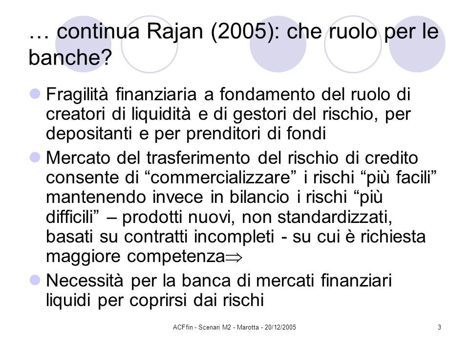 ACFfin - Scenari M2 - Marotta - 20/12/20053 … continua Rajan (2005): che ruolo per le banche? Fragilità finanziaria a fondamento del ruolo di creatori
