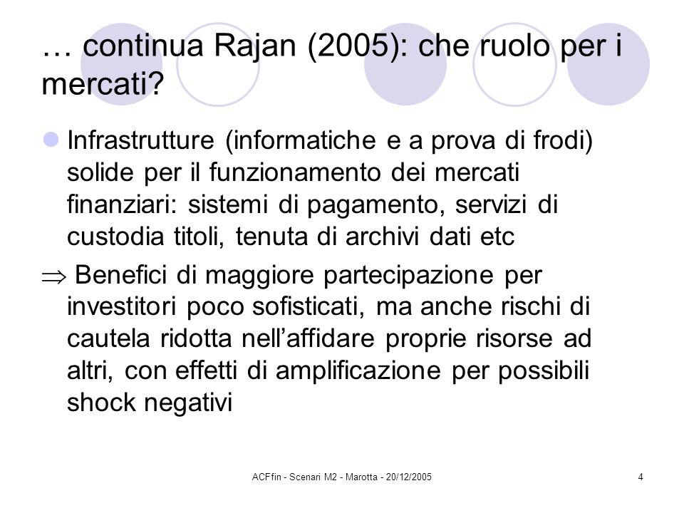 ACFfin - Scenari M2 - Marotta - 20/12/20054 … continua Rajan (2005): che ruolo per i mercati? Infrastrutture (informatiche e a prova di frodi) solide