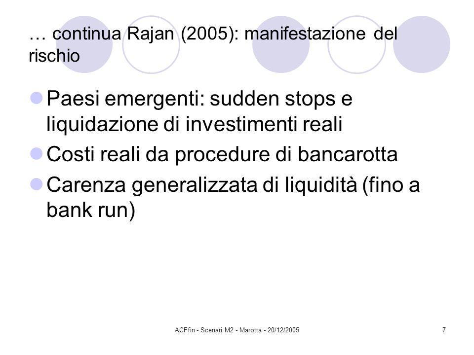 ACFfin - Scenari M2 - Marotta - 20/12/20057 … continua Rajan (2005): manifestazione del rischio Paesi emergenti: sudden stops e liquidazione di investimenti reali Costi reali da procedure di bancarotta Carenza generalizzata di liquidità (fino a bank run)