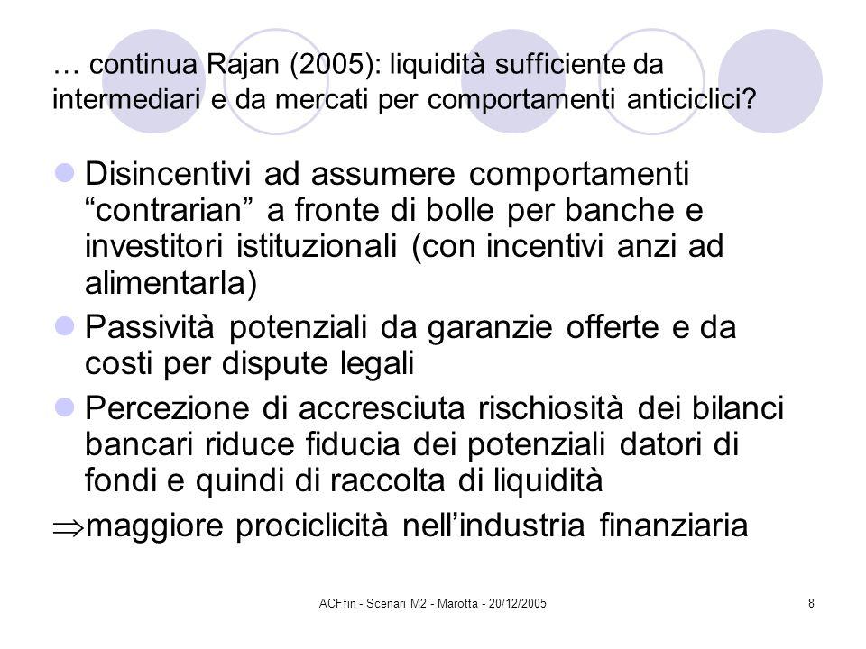 ACFfin - Scenari M2 - Marotta - 20/12/20058 … continua Rajan (2005): liquidità sufficiente da intermediari e da mercati per comportamenti anticiclici.