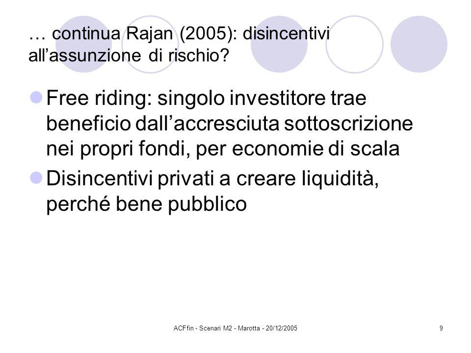 ACFfin - Scenari M2 - Marotta - 20/12/20059 … continua Rajan (2005): disincentivi allassunzione di rischio? Free riding: singolo investitore trae bene