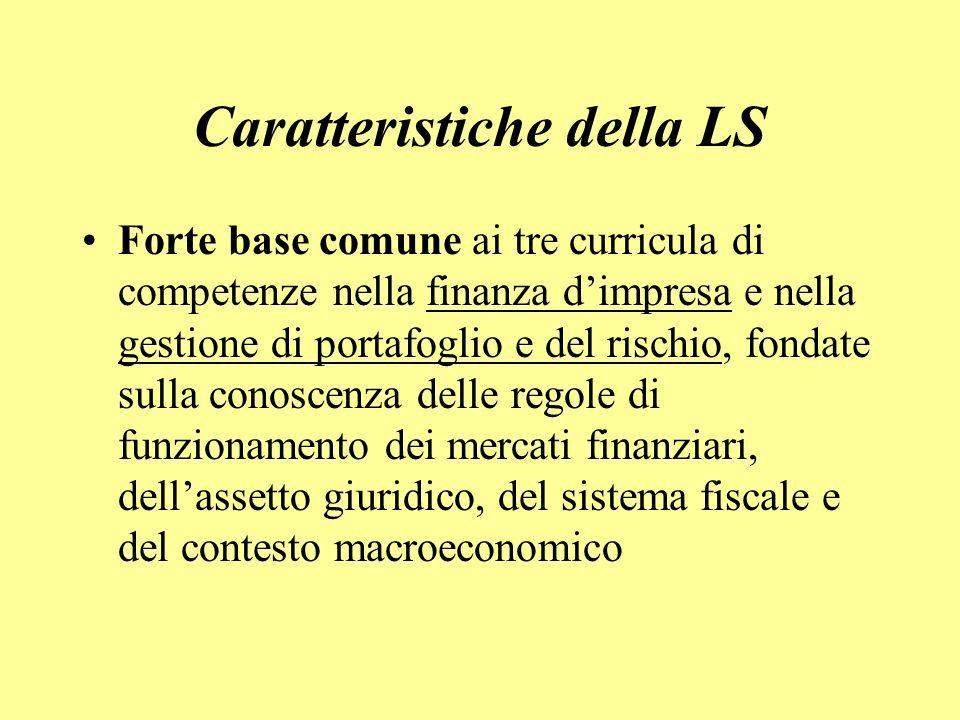 Caratteristiche della LS Forte base comune ai tre curricula di competenze nella finanza dimpresa e nella gestione di portafoglio e del rischio, fondate sulla conoscenza delle regole di funzionamento dei mercati finanziari, dellassetto giuridico, del sistema fiscale e del contesto macroeconomico