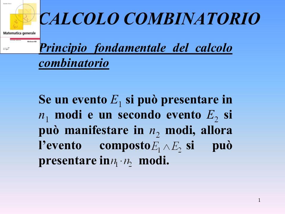 1 CALCOLO COMBINATORIO Principio fondamentale del calcolo combinatorio Se un evento E 1 si può presentare in n 1 modi e un secondo evento E 2 si può m