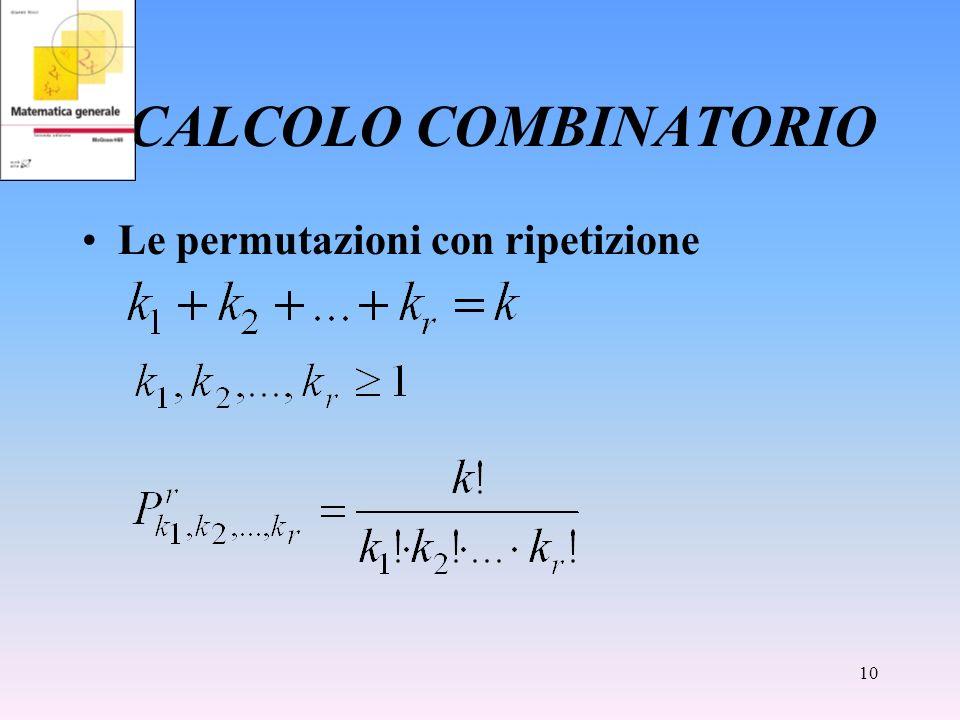 10 CALCOLO COMBINATORIO Le permutazioni con ripetizione