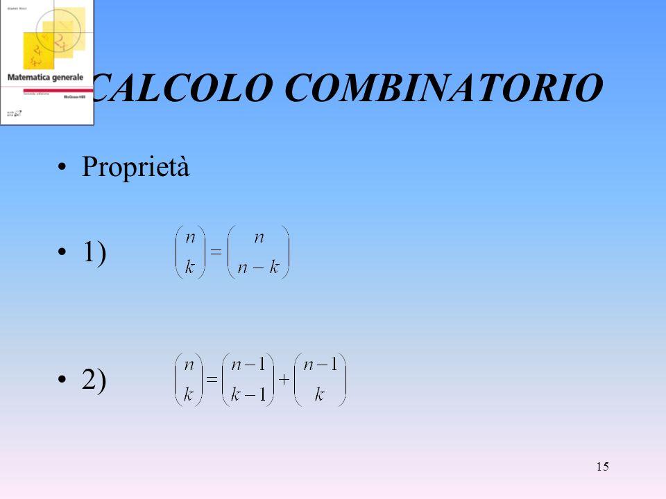 15 CALCOLO COMBINATORIO Proprietà 1) 2)