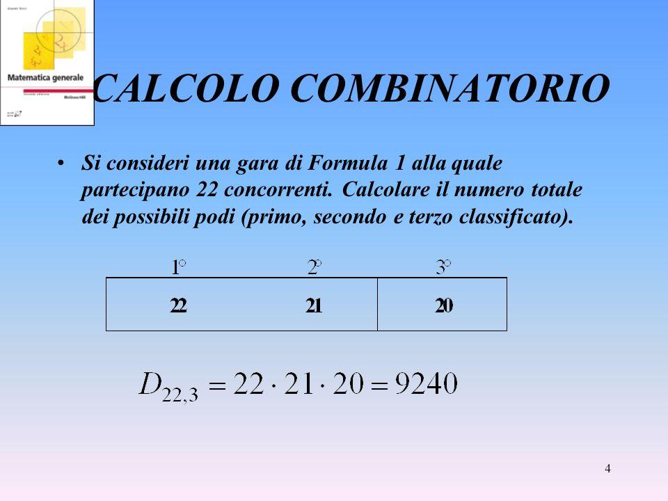4 CALCOLO COMBINATORIO Si consideri una gara di Formula 1 alla quale partecipano 22 concorrenti. Calcolare il numero totale dei possibili podi (primo,