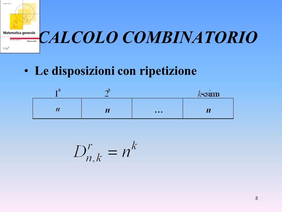 8 CALCOLO COMBINATORIO Le disposizioni con ripetizione