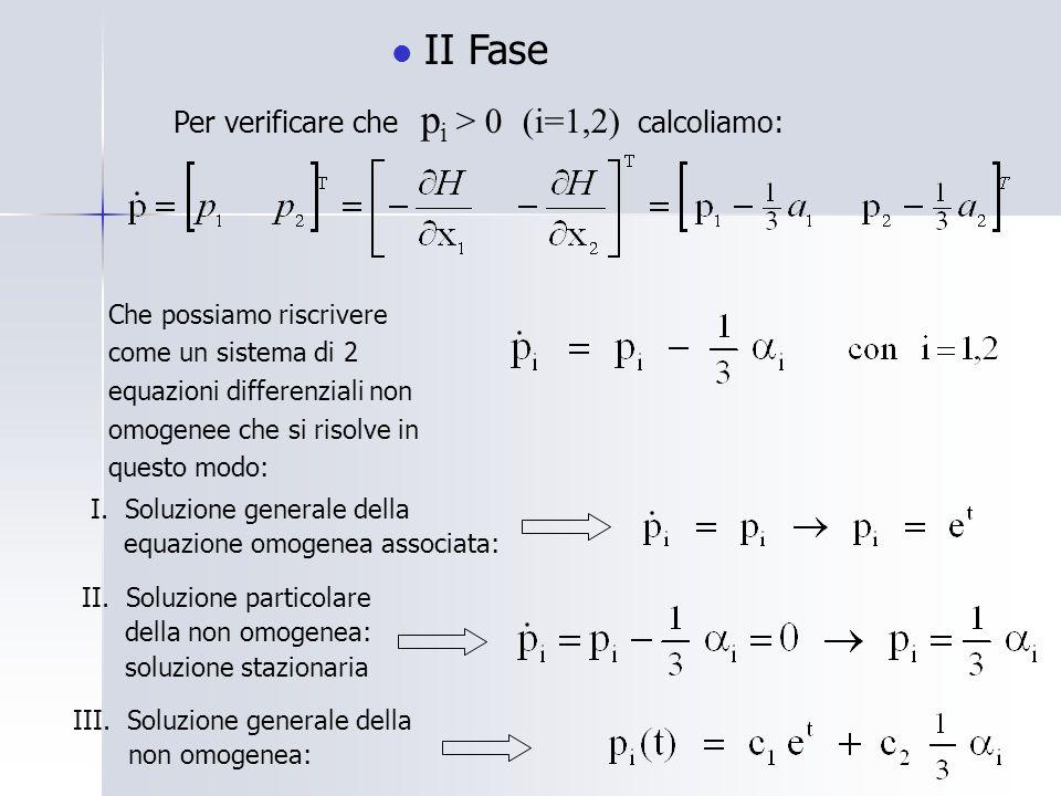 II Fase Per verificare che p i > 0 (i=1,2) calcoliamo: Che possiamo riscrivere come un sistema di 2 equazioni differenziali non omogenee che si risolve in questo modo: I.