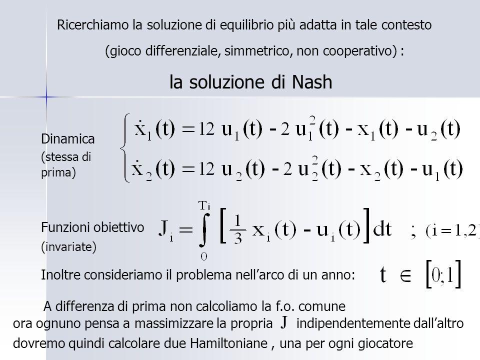 Ricerchiamo la soluzione di equilibrio più adatta in tale contesto (gioco differenziale, simmetrico, non cooperativo) : la soluzione di Nash Dinamica (stessa di prima) Funzioni obiettivo (invariate) A differenza di prima non calcoliamo la f.o.