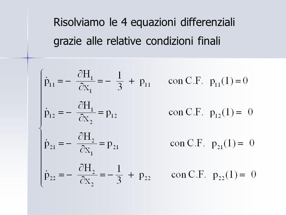 Risolviamo le 4 equazioni differenziali grazie alle relative condizioni finali