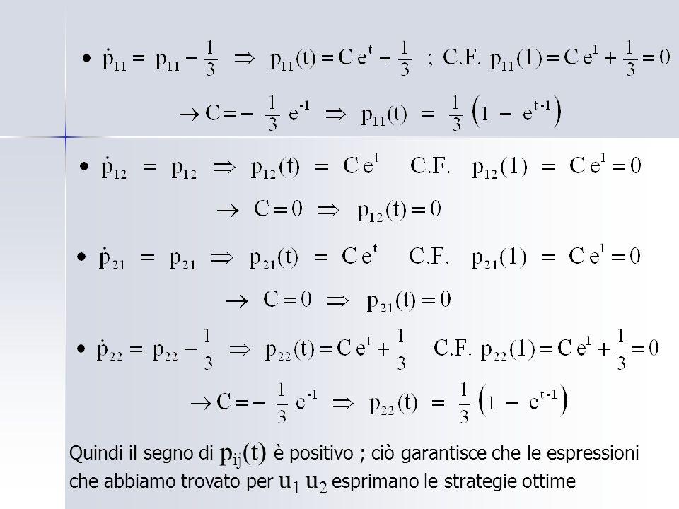 Quindi il segno di p ij (t) è positivo ; ciò garantisce che le espressioni che abbiamo trovato per u 1 u 2 esprimano le strategie ottime