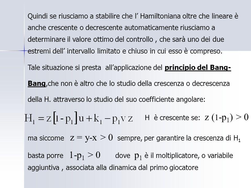 Quindi se riusciamo a stabilire che l Hamiltoniana oltre che lineare è anche crescente o decrescente automaticamente riusciamo a determinare il valore ottimo del controllo, che sarà uno dei due estremi dell intervallo limitato e chiuso in cui esso è compreso.