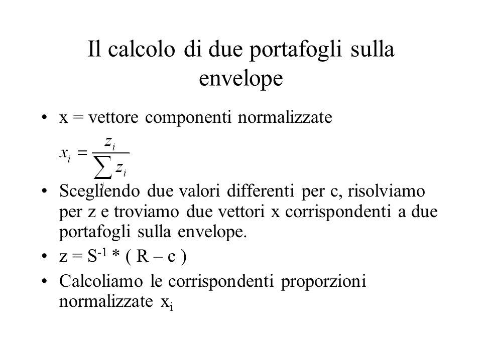 x = vettore componenti normalizzate Scegliendo due valori differenti per c, risolviamo per z e troviamo due vettori x corrispondenti a due portafogli