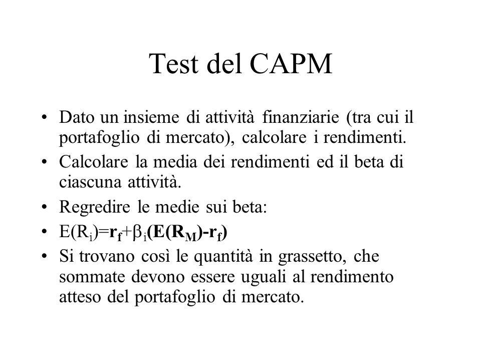 Test del CAPM Dato un insieme di attività finanziarie (tra cui il portafoglio di mercato), calcolare i rendimenti. Calcolare la media dei rendimenti e