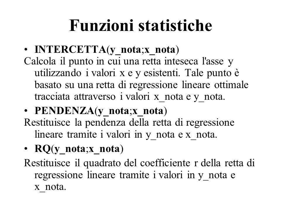 Funzioni statistiche INTERCETTA(y_nota;x_nota) Calcola il punto in cui una retta inteseca l'asse y utilizzando i valori x e y esistenti. Tale punto è