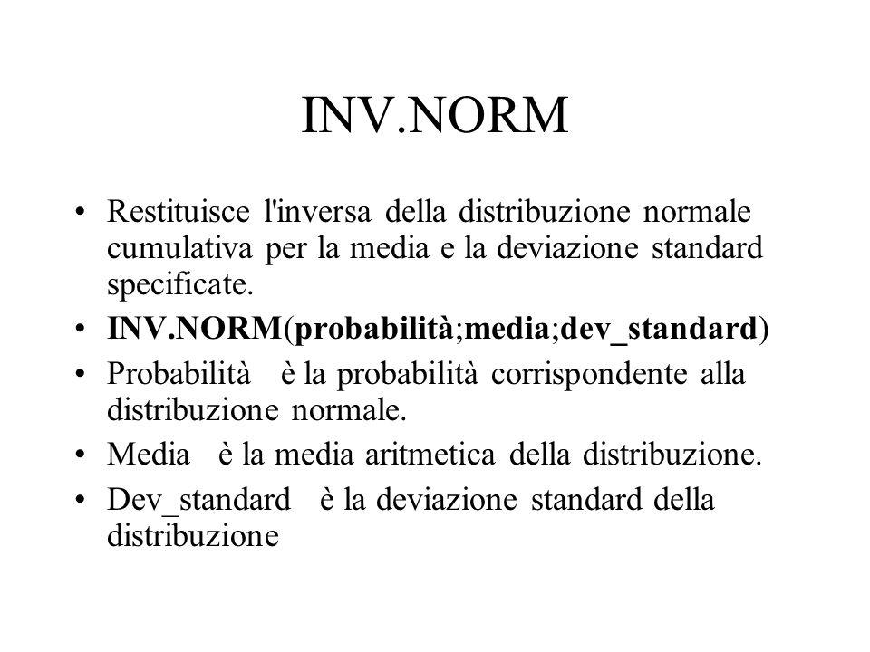 INV.NORM Restituisce l'inversa della distribuzione normale cumulativa per la media e la deviazione standard specificate. INV.NORM(probabilità;media;de