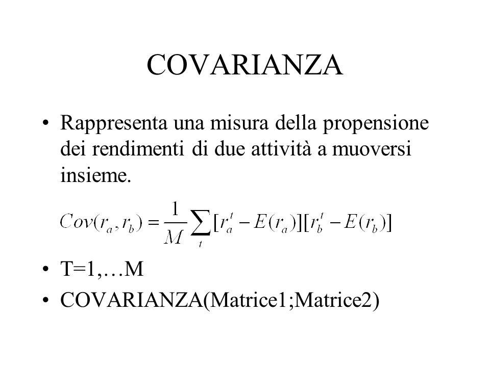 COVARIANZA Rappresenta una misura della propensione dei rendimenti di due attività a muoversi insieme. T=1,…M COVARIANZA(Matrice1;Matrice2)