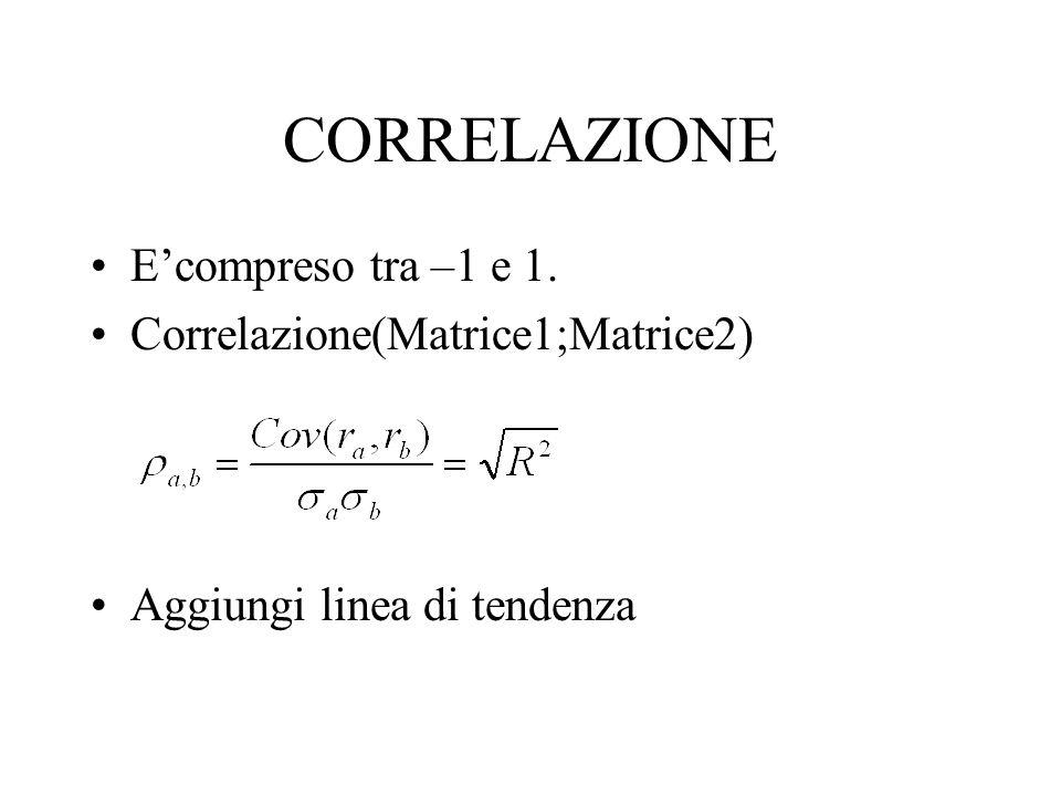CORRELAZIONE Ecompreso tra –1 e 1. Correlazione(Matrice1;Matrice2) Aggiungi linea di tendenza