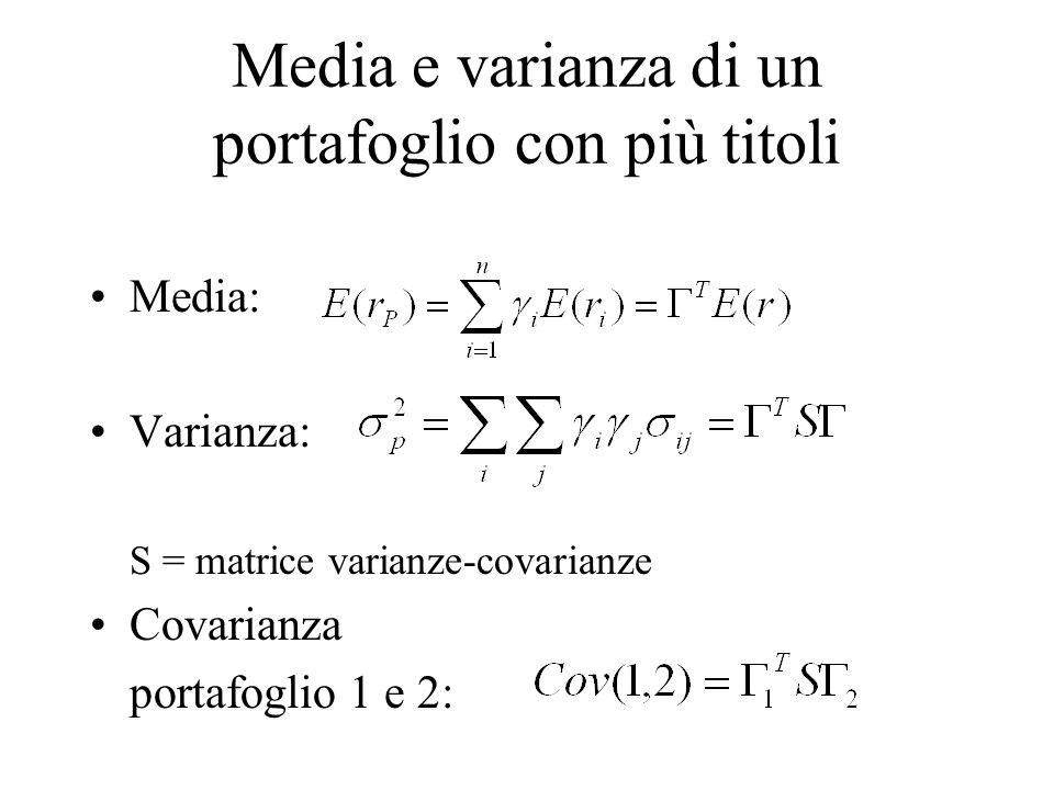 Media e varianza di un portafoglio con più titoli Media: Varianza: S = matrice varianze-covarianze Covarianza portafoglio 1 e 2:
