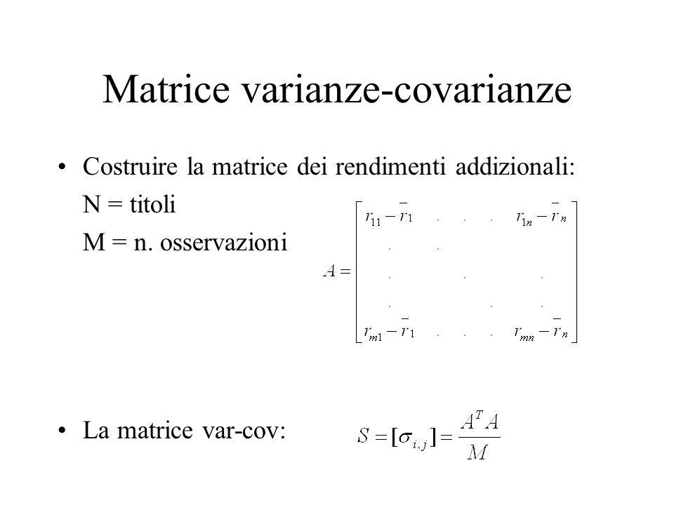 Matrice varianze-covarianze Costruire la matrice dei rendimenti addizionali: N = titoli M = n. osservazioni La matrice var-cov: