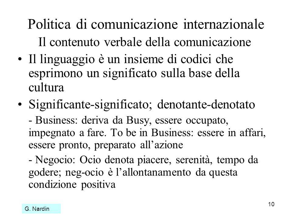 10 Politica di comunicazione internazionale Il contenuto verbale della comunicazione Il linguaggio è un insieme di codici che esprimono un significato