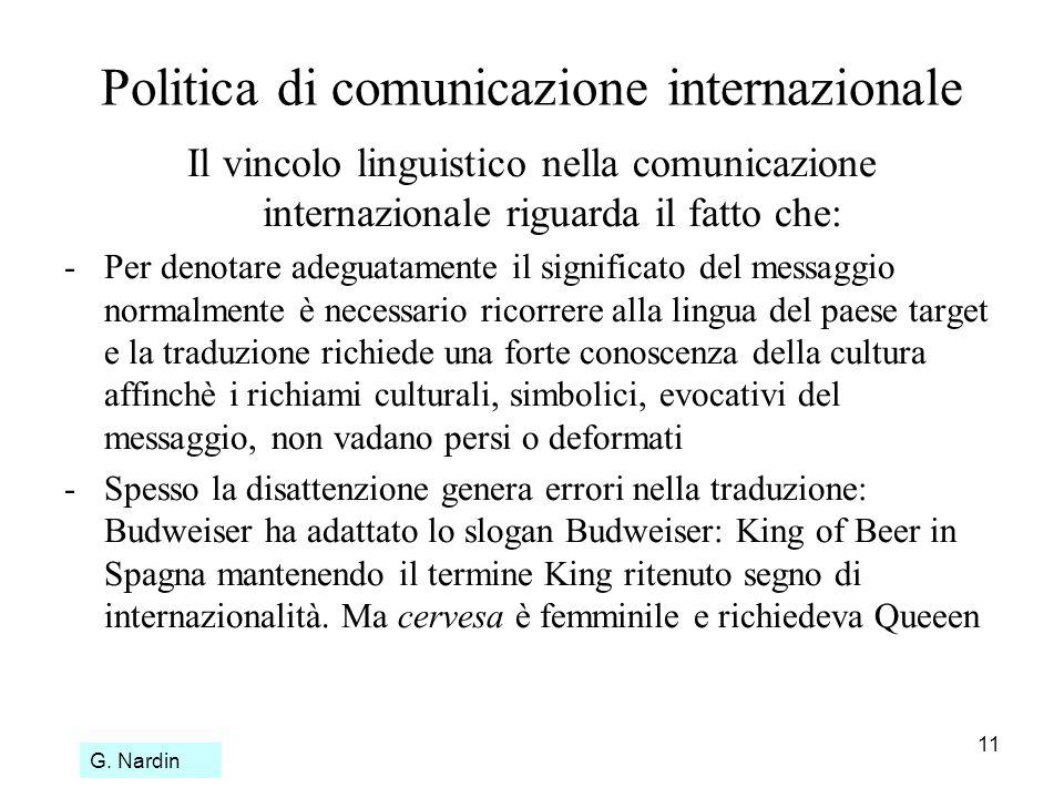 11 Politica di comunicazione internazionale Il vincolo linguistico nella comunicazione internazionale riguarda il fatto che: -Per denotare adeguatamen