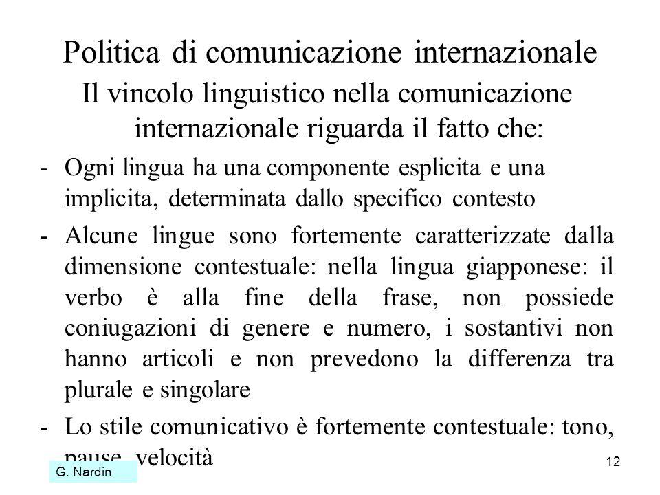 12 Politica di comunicazione internazionale Il vincolo linguistico nella comunicazione internazionale riguarda il fatto che: -Ogni lingua ha una compo
