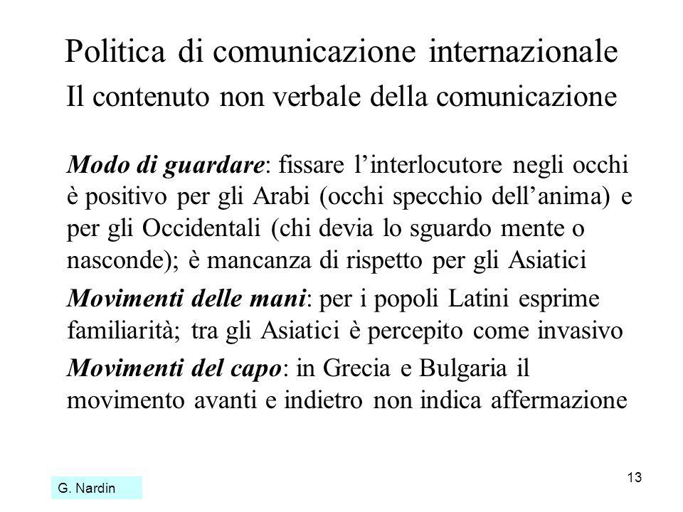 13 Politica di comunicazione internazionale Il contenuto non verbale della comunicazione Modo di guardare: fissare linterlocutore negli occhi è positi