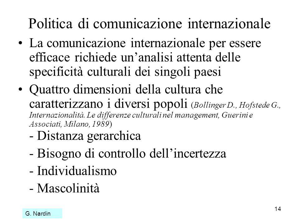 14 Politica di comunicazione internazionale La comunicazione internazionale per essere efficace richiede unanalisi attenta delle specificità culturali