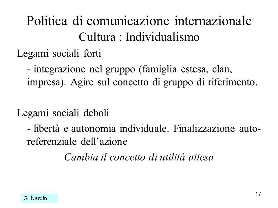 17 Politica di comunicazione internazionale Cultura : Individualismo Legami sociali forti - integrazione nel gruppo (famiglia estesa, clan, impresa).