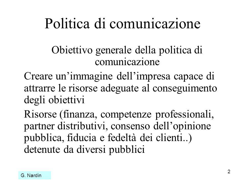 2 Politica di comunicazione Obiettivo generale della politica di comunicazione Creare unimmagine dellimpresa capace di attrarre le risorse adeguate al