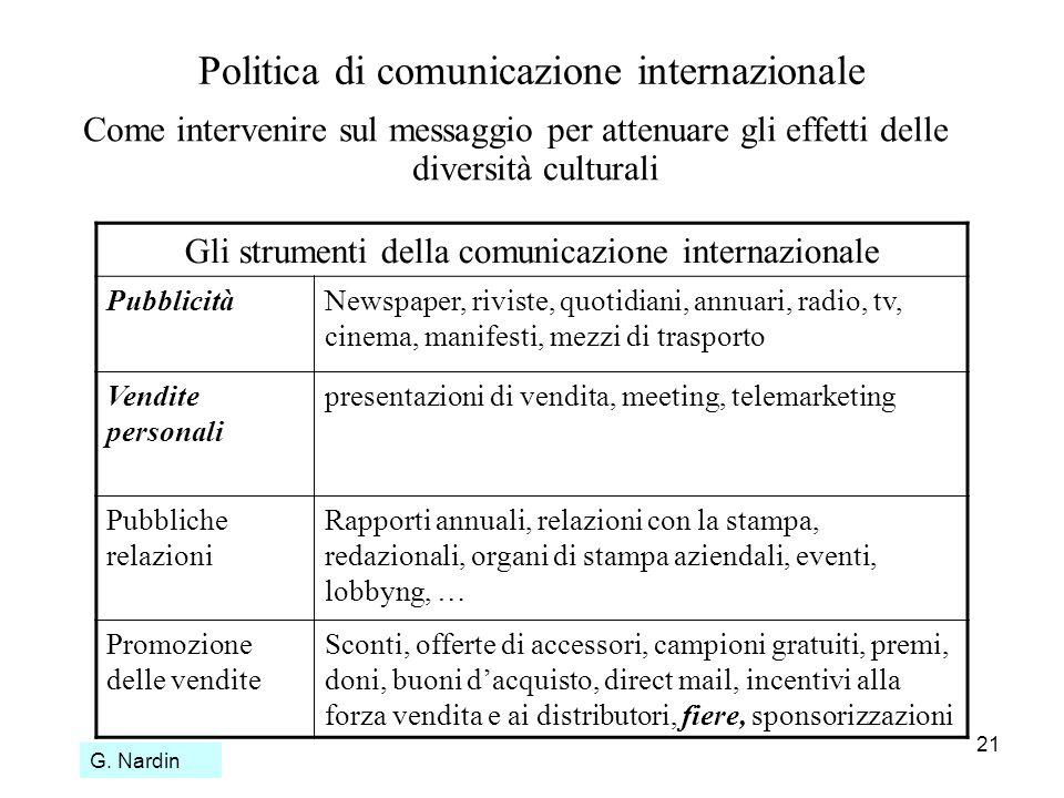 21 Politica di comunicazione internazionale Come intervenire sul messaggio per attenuare gli effetti delle diversità culturali Gli strumenti della com