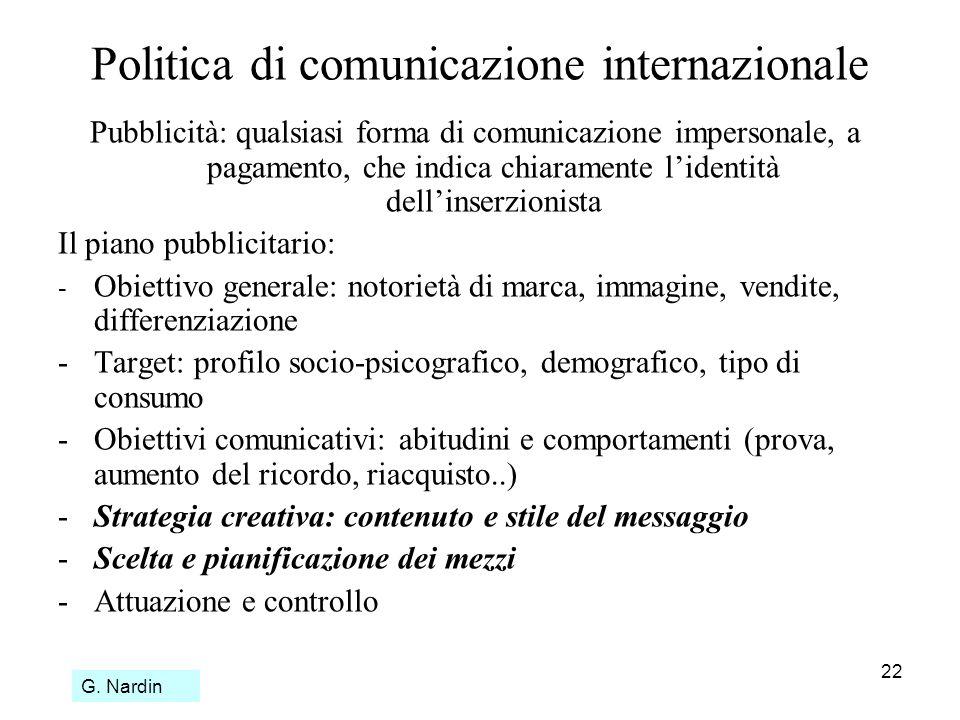 22 Politica di comunicazione internazionale Pubblicità: qualsiasi forma di comunicazione impersonale, a pagamento, che indica chiaramente lidentità de