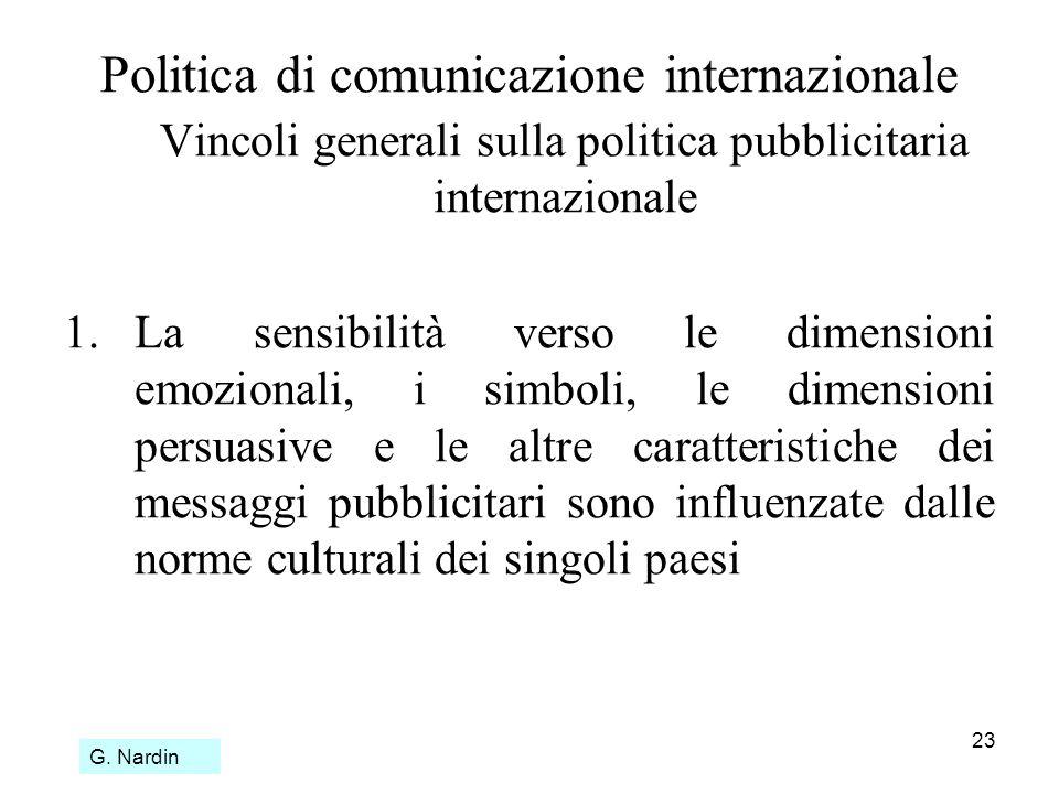 23 Politica di comunicazione internazionale Vincoli generali sulla politica pubblicitaria internazionale 1.La sensibilità verso le dimensioni emoziona