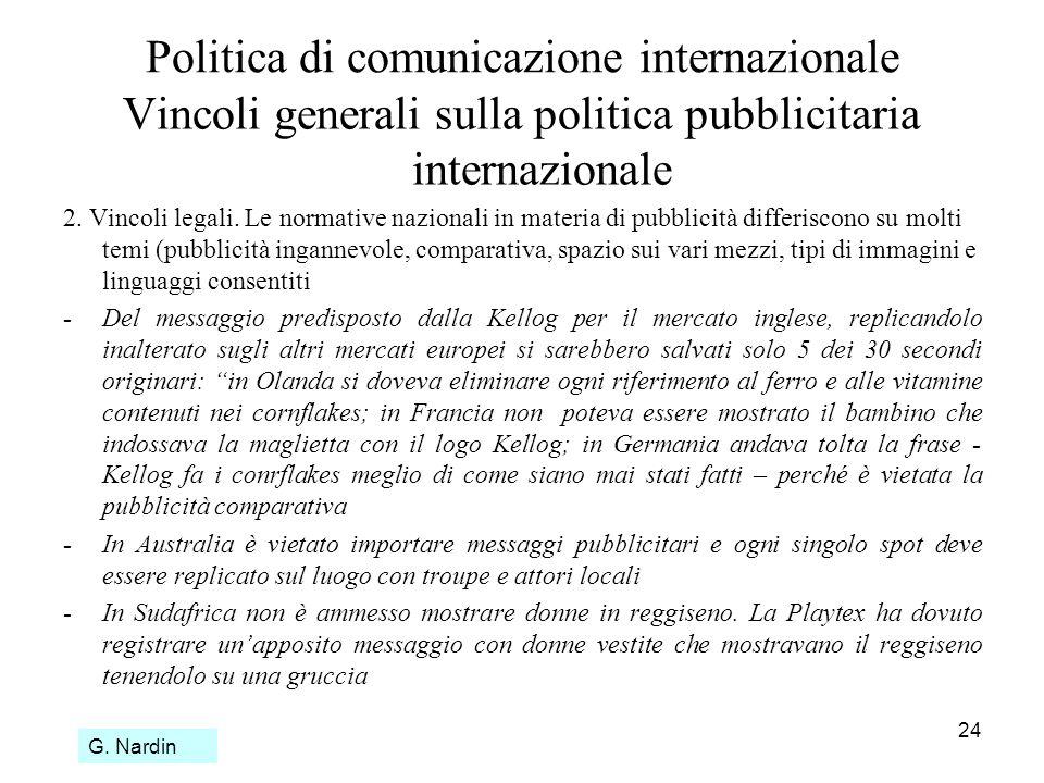 24 Politica di comunicazione internazionale Vincoli generali sulla politica pubblicitaria internazionale 2. Vincoli legali. Le normative nazionali in