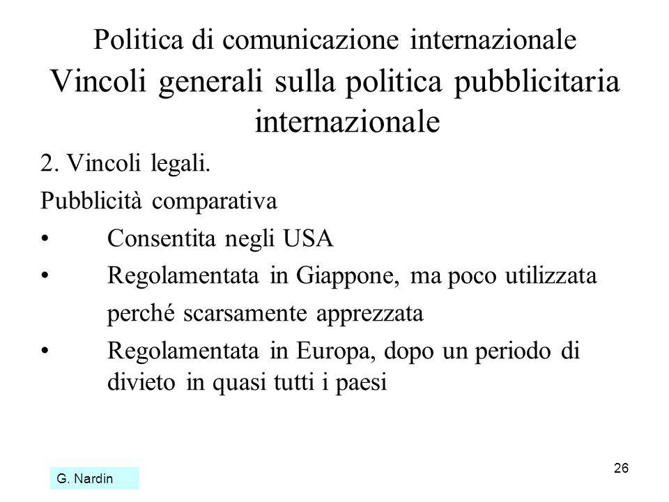 26 Politica di comunicazione internazionale Vincoli generali sulla politica pubblicitaria internazionale 2. Vincoli legali. Pubblicità comparativa Con