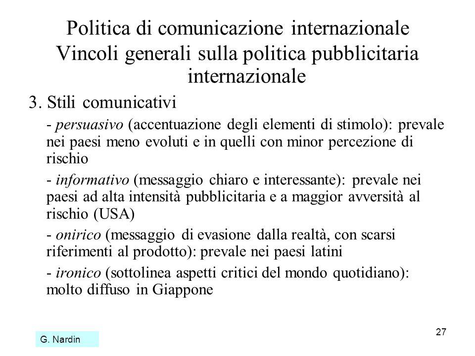 27 Politica di comunicazione internazionale Vincoli generali sulla politica pubblicitaria internazionale 3. Stili comunicativi - persuasivo (accentuaz